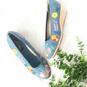 Vintage Bohemain Embroidered Wedges Heel Flats 8